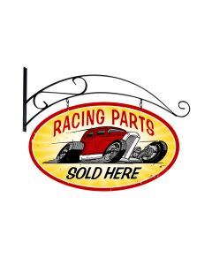 Racing Parts, Automotive, Double Sided Oval Metal Sign with Wall Mount, 24 X 24 Inches