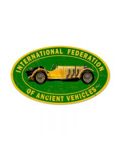 Ancient Vehicle, Automotive, Oval Metal Sign, 24 X 14 Inches