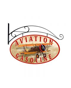 Aviation Gasoline, Aviation, Double Sided Oval Metal Sign with Wall Mount, 24 X 14 Inches