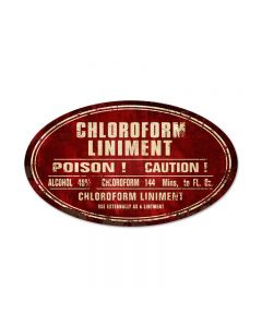 Chloroform Liniment, Home and Garden, Oval Metal Sign, 24 X 14 Inches