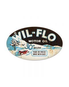 Wil Flo Oil, Automotive, Oval Metal Sign, 24 X 14 Inches