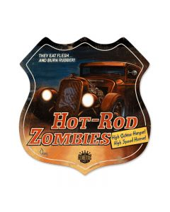 Hot Rod Zombies, Automotive, Shield Metal Sign, 15 X 15 Inches