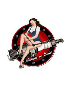 Spark Plug, Pinup Girls, Custom Metal Shape, 17 X 15 Inches