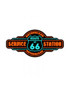 Route 66 Service, Automotive, Custom Metal Shape, 26 X 12 Inches