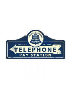 Telephone Paystation, Home and Garden, Custom Metal Shape, 26 X 12 Inches