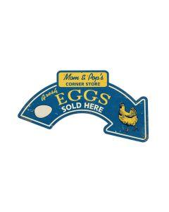 Eggs Arrow, Food and Drink, Custom Metal Shape, 21 X 10 Inches