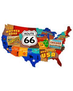 Route 66 USA, Automotive, Custom Metal Shape, 25 X 16 Inches