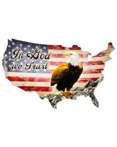 In God We Trust, Home and Garden, Custom Metal Shape, 25 X 16 Inches