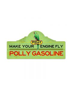 Polly Gas Station, Automotive, Custom Metal Shape, 26 X 12 Inches