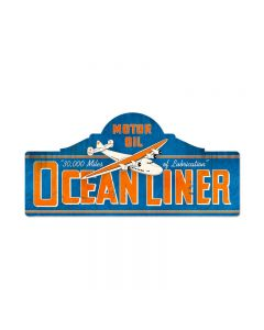 Ocean Liner Station, Aviation, Custom Metal Shape, 26 X 12 Inches