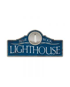 Blue Rock Lighthouse, Bar and Alcohol, Custom Metal Shape, 26 X 12 Inches