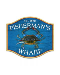 Fishermans Wharf, Bar and Alcohol, Custom Metal Shape, 18 X 16 Inches