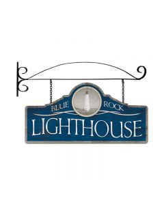Blue Rock Light House, Bar and Alcohol, Double Sided Custom Metal Shape with Wall Mount, 26 X 12 Inches