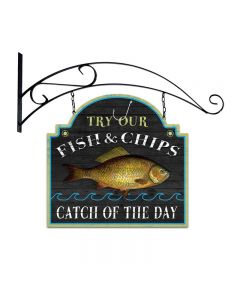 Fish and Chips, Bar and Alcohol, Double Sided Custom Metal Shape with Wall Mount, 18 X 19 Inches