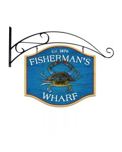 Fishermans Wharf, Bar and Alcohol, Double Sided Custom Metal Shape with Wall Mount, 18 X 16 Inches