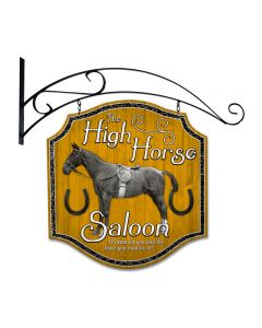 High Horse Tavern, Bar and Alcohol, Double Sided Custom Metal Shape with Wall Mount, 20 X 20 Inches