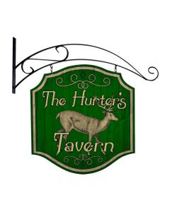 Hunters Tavern, Bar and Alcohol, Double Sided Custom Metal Shape with Wall Mount, 20 X 20 Inches