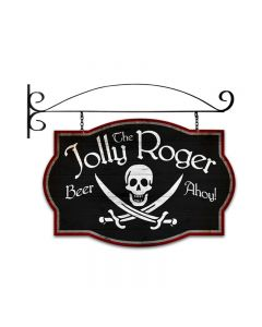 Jolly Roger Tavern, Bar and Alcohol, Double Sided Custom Metal Shape with Wall Mount, 24 X 16 Inches