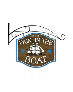 Pain In The Boat, Bar and Alcohol, Double Sided Custom Metal Shape with Wall Mount, 18 X 18 Inches