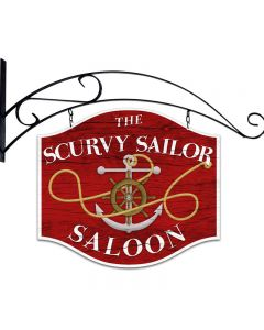 Scurvy Sailor, Bar and Alcohol, Double Sided Custom Metal Shape with Wall Mount, 18 X 12 Inches