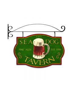 Sea Dog Tavern, Bar and Alcohol, Double Sided Custom Metal Shape with Wall Mount, 24 X 16 Inches