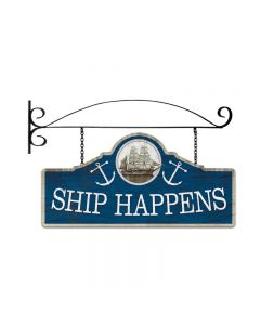 Ship Happens, Bar and Alcohol, Double Sided Custom Metal Shape with Wall Mount, 26 X 12 Inches