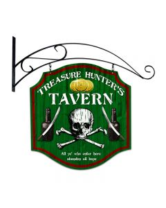 Treasure Hunter, Bar and Alcohol, Double Sided Custom Metal Shape with Wall Mount, 20 X 20 Inches