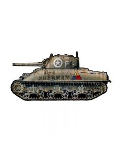 Sherman Tank , Allied Military, Custom Metal Shape, 20 X 10 Inches