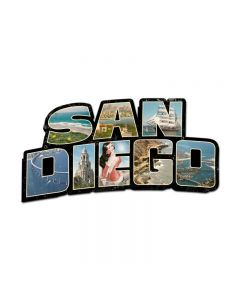 San Diego Landmarks, Travel, Custom Metal Shape, 28 X 15 Inches