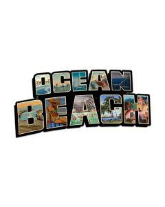 Ocean Beach Landmarks, Travel, Custom Metal Shape, 28 X 14 Inches