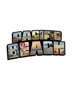 Pacific Beach Landmarks, Travel, Custom Metal Shape, 28 X 15 Inches