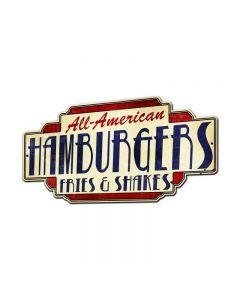 All American Hamburgers Fries & Shakes, Food and Drink, Custom Metal Shape, 28 X 15 Inches