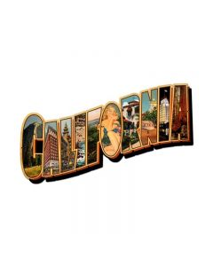 California Landmarks, Travel, Custom Metal Shape, 28 X 15 Inches