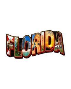 Florida Landmarks, Travel, Custom Metal Shape, 28 X 14 Inches