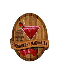 Strawberry Margarita Recipe, Bar and Alcohol, Custom Metal Shape, 20 X 24 Inches