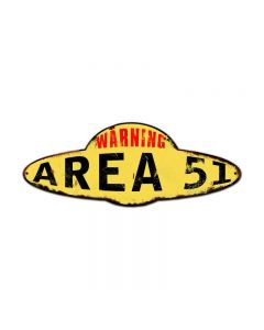 Area 51 Plasma, Humor, Custom Metal Shape, 15 X 5 Inches