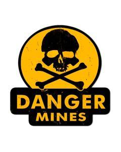 Danger Mines, Humor, Custom Metal Shape, 16 X 16 Inches