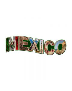 Mexico Landmarks, Travel, Custom Metal Shape, 28 X 9 Inches