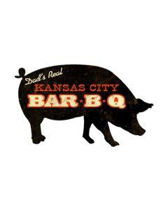 Kansas City BBQ Pig, Home and Garden, Custom Metal Shape, 26 X 15 Inches