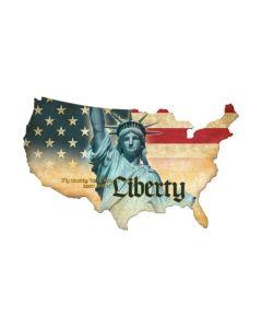 Liberty USA, Patriotic, Custom Metal Shape, 25 X 16 Inches