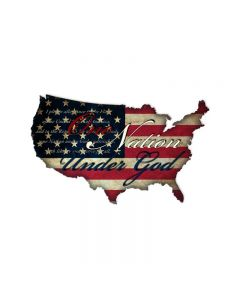 One Nation USA, Patriotic, Custom Metal Shape, 25 X 16 Inches