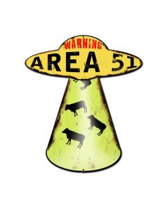 Area 51 Cow Abduction, Humor, Custom Metal Shape, 20 X 16 Inches