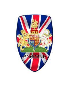 England Shield, Travel, Custom Metal Shape, 21 X 32 Inches