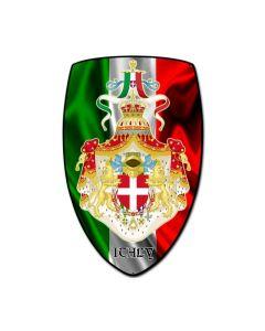 Italy Shield, Travel, Custom Metal Shape, 15 X 24 Inches