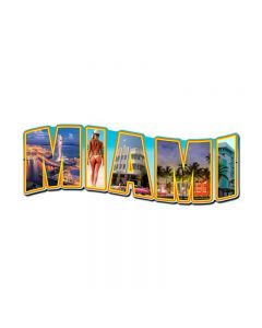 Miami Landmarks, Travel, Custom Metal Shape, 24 X 10 Inches