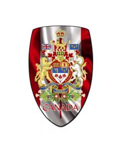 Canada Shield, Travel, Custom Metal Shape, 21 X 32 Inches