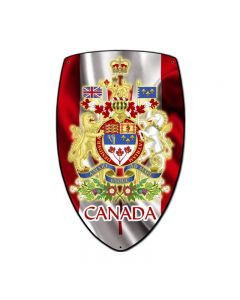 Canada Shield, Travel, Custom Metal Shape, 7 X 10 Inches