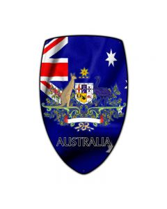 Australia Shield, Travel, Custom Metal Shape, 15 X 24 Inches