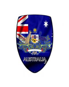 Australia Shield, Travel, Custom Metal Shape, 7 X 10 Inches