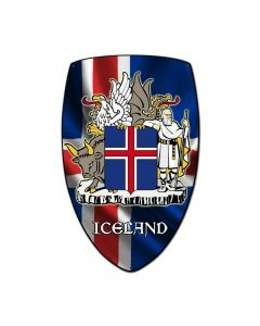 Iceland Shield, Travel, Custom Metal Shape, 21 X 32 Inches